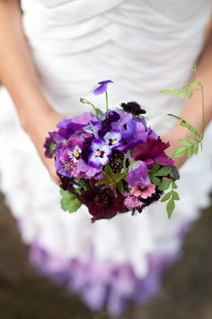 Purple Pansy Bouquet Purple pansy and berry wedding