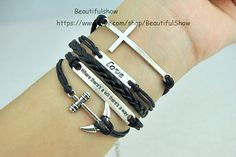 Cross  Love  Anchor Bracelet Antique Sliver Black by BeautifulShow, $4.20 Fashion charm handmade personalized bracelet, the best gift.