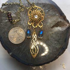 Celtic Druids, Mystic Topaz, Steampunk Necklace, Winter Solstice, Gold Style, Celtic Knot, Etsy Store, Antique Jewelry, Pendant Necklace