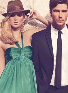 couple, green dress, via this is glamorous