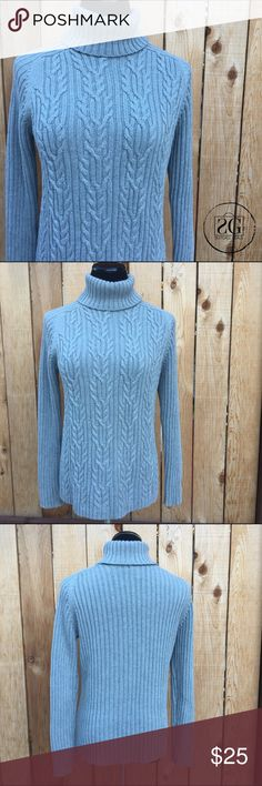 """🆕Grey Cable Knit Oversized Sweater. 💢This turtleneck sweater is so cozy! 100% cotton. Pit to pit is 19"""" and shoulder to hem is 25"""". Karen Scott Sweaters Cowl & Turtlenecks"""