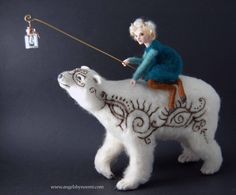 RIDING THE MOON  OOAK Art Doll Figure#128  International Art Doll Registry#20151887 By Noemi Smith  Little Divina Riding the Moon It was very cold and she was wearing some strange clothing. Moon was the name she gave to him, because he was so white and so big, like a gentle monster to her eyes, that amazing white fur felt like heavens touch and they played together as long as her dream last. She painted pictures on his body - Oh he looks so cute! - And they ride together, she made a toy for…