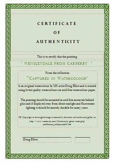 Certificate Authenticity Template Art Authenticity Certificate