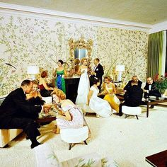 Party at the Holmby Hills estate of Betsy and Alfred Bloomingdale, 1959