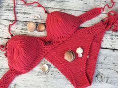 Crochet bikini Coral red bikini Triangle bikini