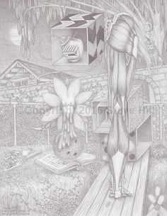 Dr. Applehead works late #anatomy #surrealart #fantasyart #pencildrawing #blackandwhite