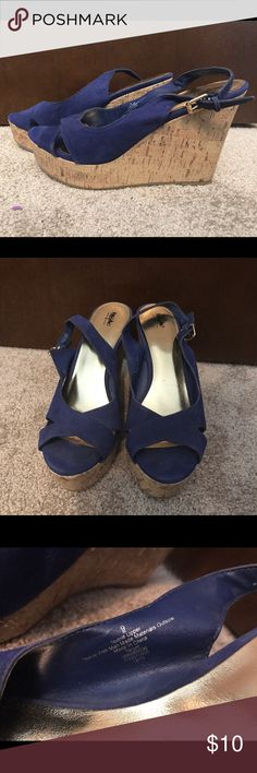 Blue Wedges Mossimo Women's blue suede wedges. Size 9 Mossimo Supply Co Shoes Wedges