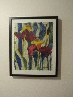 Original Abstract Floral Iris Painting  by MarciaMcKinzieArt