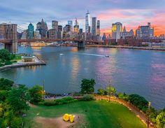Sunset over Lower Manhattan and Brooklyn Bridge by @nyclovesnyc #newyorkcityfeelings #nyc #newyork
