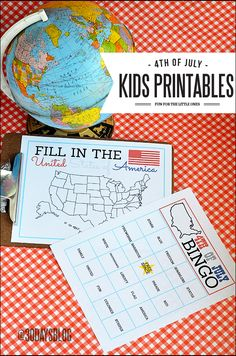 4th of July Kids #Printables - BINGO + Fill in the USA Map.