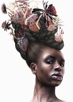 Artist: Erica Rose Levine {contemporary figurative art female head african-american black woman face portrait with floral hair color pencil drawing #loveart} ericaroselevine.com