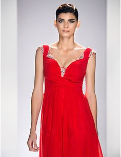 Formeller Abend/Ball/Militär Ball Kleid - Rot Chiffon/Chiffon Satin - A-Linie - knöchellang - Queen Anne-Ausschnitt Übergröße – USD $ 129.99