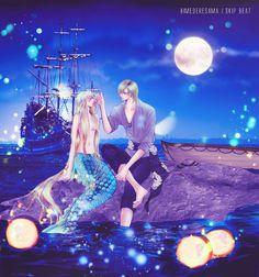 Manga Skip Beat Kyoko and Ren little mermaid Fanfiction, Skip Beat Anime, Manga Anime, Anime Art, Anime Mermaid, Fantasy Creatures, In My Feelings, Anime Love, The Little Mermaid