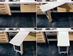 Kitchen Furniture Design Space Saving ` Kitchen Furniture - Real Time - Diet, Exercise, Fitness, Finance You for Healthy articles ideas Hidden Kitchen, New Kitchen, Kitchen Decor, Smart Kitchen, Kitchen Tables, Kitchen Interior, Kitchen Ideas, Kitchen Cabinets, Trendy Furniture