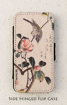 Bird and Camellia. Beautiful vintage Japanese print from the nineteenth century. Available in black for the iphone 4/4S, 5/5S and can be