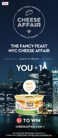 I just entered the Fancy Feast Cheese Affair Pin To Win Sweepstakes. Enter now for your chance to win a can of Delights With Cheddar classic. Visit weekly for other exclusive cheese gifts for you and your cat. #CheeseAffair