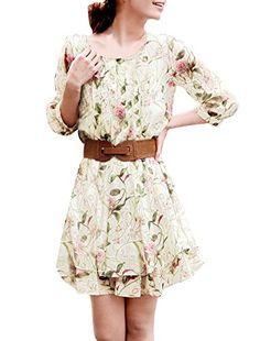 fdf53d1e07 Allegra K Women Layered 3 4 Sleeve Casual Floral Short Dresses Allegra K  http
