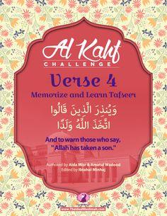 Al Kahf Challenge – Verse 4 (Memorize + Learn Tafsir) - The Ideal Muslimah Surah Kahf, Quran Surah, Islam Quran, Islamic Surah, Islamic Teachings, Beautiful Islamic Quotes, Islamic Inspirational Quotes, Al Kahf, Quran Arabic