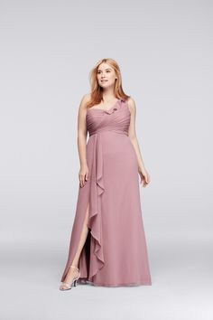 A rose quartz bridesmaid dress is exactly the look we are going for. The ruffle and pleating details are an extra touch to this gorgeous dress!