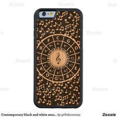 Contemporary black and white music wheel design carved® cherry iPhone 6 bumper case