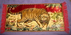 Vintage Italian Velvet Tapestry Wall Rug Tiger Design Made In Italy Fringed