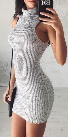 #summer #flirty #outfitideas Roll Neck Knit Dress