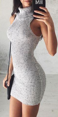 #summer #flirty #outfitideas Roll Neck Knit Dress