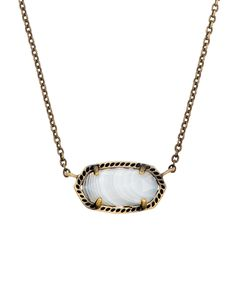 Elisa Pendant Necklace in White Banded Agate - Kendra Scott Jewelry.