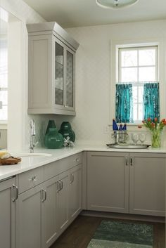 Gray Kitchen Cabinet Colors - Contemporary - kitchen - Benjamin Moore Baltic Gray - Martha OHara Interiors
