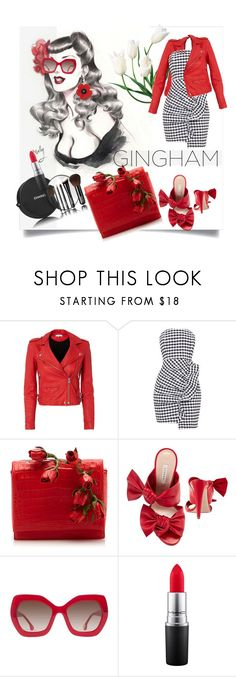 """""""Check Republic: Gingham Dress"""" by kari-c ❤ liked on Polyvore featuring IRO, Chanel, Nancy Gonzalez, Casadei, Alice + Olivia, MAC Cosmetics and gingham"""
