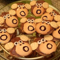 Monkey cookies! So easy to make. Cheerios, nilla wafers, and snack pack butter butters.