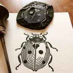 Items similar to Ladybird Linocut Print // Handmade // Original on Etsy Stamp Printing, Screen Printing, Linocut Prints, Art Prints, Block Prints, Lino Art, Posca Art, Stamp Carving, Handmade Stamps