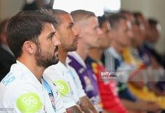 David Villa of City watches on with fellow players from the A-League during the A-League 2014-15 Season launch at Etihad Stadium on October 7, 2014 in Melbourne, Australia.