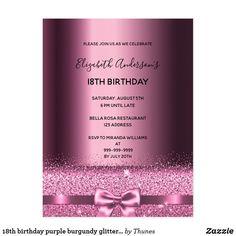 Purple Pastel Glitter Glam Dress Sweet 16 Party Invitation