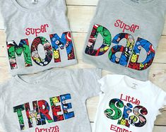 """SUPERHERO Shirt Super MOM Super DAD Fathers Day Gift Birthday Shirt Super Dad Shirt Squad Goals Custom Shirts Baby Gift { This Listing is specifically for 4 shirts. Mom, Dad, any age birthday shirt, and a shirt with any design. Search """"SUPERHERO"""" in my Fourth Birthday, 4th Birthday Parties, Dad Birthday, Birthday Shirts, Super Hero Birthday, 5th Birthday Ideas For Boys, Avengers Birthday, Superhero Birthday Party, Superhero Party Favors"""