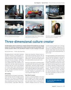 Article in Scan Magazine - October 2014 - interiørarkitekter MNIL Interior Architecture, Interior Design, Oslo, Three Dimensional, Your Design, Magazine, October 2014, Architecture Interior Design, Nest Design