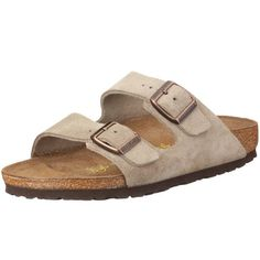 Birkenstock Sandals ``Arizona`` from Leather in Taupe with a regular insole