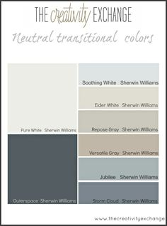 The best place to start when choosing paint colors for a home. I like the Eider White and Repose Gray. Interior Paint Colors, Paint Colors For Home, House Colors, Room Colors, Paint Colours, Office Paint Colors, Farmhouse Paint Colors, Interior Design, Sherwin Williams Storm Cloud