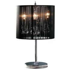 Calice Table Lamp, Chrome Effect with Crystal Glass Droplets, Black String Shade