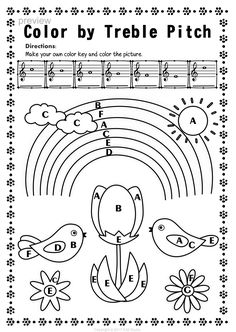 Music Coloring Pages: 26 Fall Color by Music Notes and