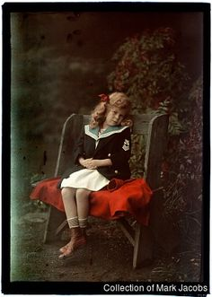 Autochrome: Alfred Stieglitz. Georgia Engelhard In Sailor Coat. 1910 – 1915.