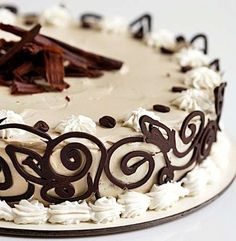 A deep, delicious espresso genoise sponge, smothered in espresso cream, with a dark chocolate lace border. Gorgeous Cakes, Pretty Cakes, Amazing Cakes, Sweet Recipes, Cake Recipes, Dessert Recipes, Chocolate Swirl, Chocolate Cake, Espresso And Cream