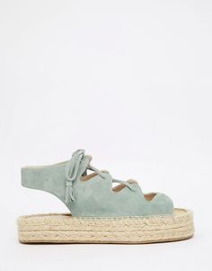 Image 2 of Faith Jagged Teal Ghillie Lace Up Espadrille Flatform Sandals