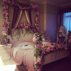 3 Steps To A Girly Adult Bedroom | Bohemian, Shabby Chic pink bed with flowers decor design ideas inspiration