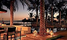 Riva Beach Club This restaurant is located right on the water and has a wonderful pool area, framed nicely by the Burj Al Arab in the distance. Shoreline Building 8, Palm Jumeirah (04 430 9466).