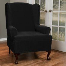 Black slipcover for Alana's wing backed chair