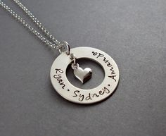 Circle & Heart Necklace for Mom with up to 3 Names
