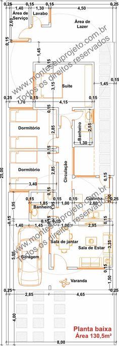 Planta baixa 130 m² para terrenos com 8 metros de frente