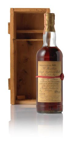 Macallan Red Specially bottled in 1982 in Scotland in honor of the Anniversary of the foundation of Rinaldi Brothers Inc. Single Malt Whisky, Scotch Whisky, Cool Bars, Red Ribbon, Bourbon, Whiskey Bottle, Liquor, Recipies, 25th Anniversary
