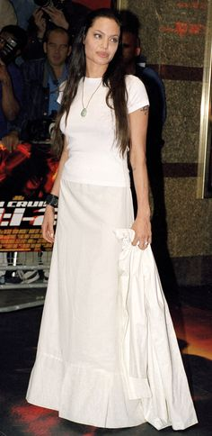 She kept it simple at the Mission: Impossible 2 premiere in this white cotton gown look.   - MarieClaire.com